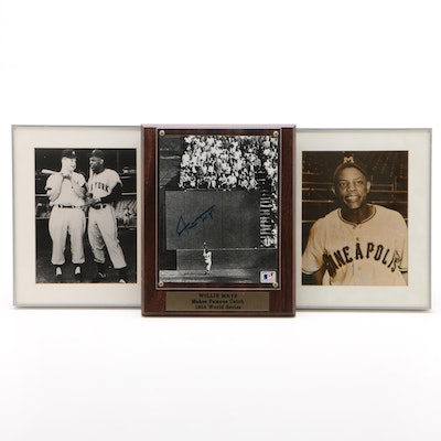Willie Mays Signed Print with Mays and Mantle Pictures