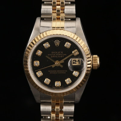 Rolex Datejust Factory Black Serti Diamond Dial 18K Gold and Steel Wristwatch