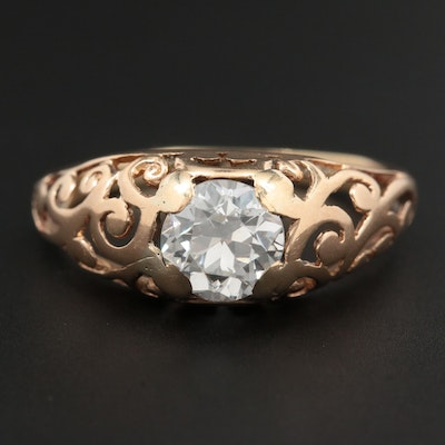 1900s 14K Yellow Gold Diamond Ring with Scroll Work Motif