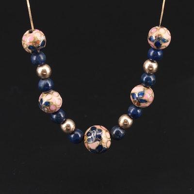 "14K Yellow Gold Cloisonné Enamel, Glass and Lapis Lazuli ""Add a Bead"" Necklace"