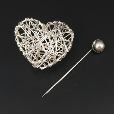 Sterling Silver Openwork Heart Pendant and Stick Pin