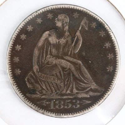 1853 Liberty Seated Silver Half Dollar, Arrows and Rays Variety
