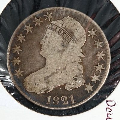 1821 Capped Bust Silver Half Dollar