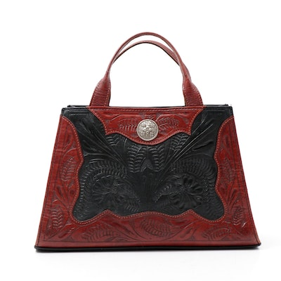 American West Southwestern-Style Tooled Leather Handbag in Red and Black