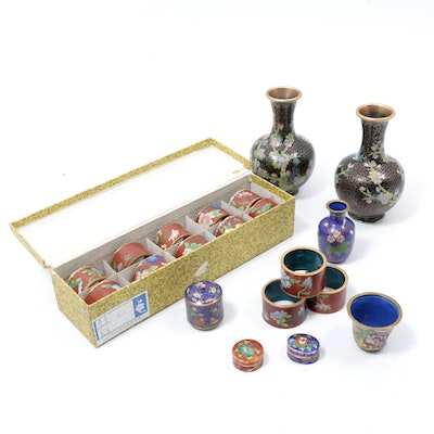 Chinese Cloisonne Vases, Napkin Rings and Lidded Boxes