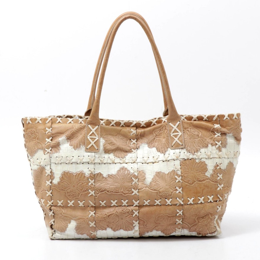 Bergē Floral and Croc Embossed Two-Tone Cross-Stitch Leather Tote Bag