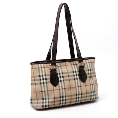 "Burberry ""Haymarket Check"" Coated Canvas and Leather Tote Bag"