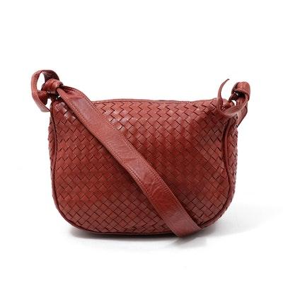 Bottega Veneta Intrecciato Woven Rust Leather Shoulder Bag with Tassel