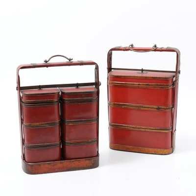 Chinese Red Lacquered Three-Tier Wedding Baskets or Stacking Boxes, Vintage