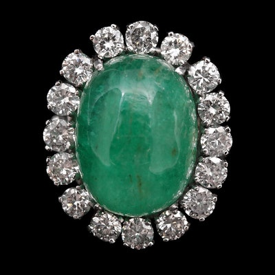 Platinum and 14K White Gold 20.71 CT Emerald and 3.04 CTW Diamond Ring
