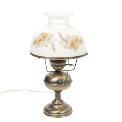 Converted Brass Oil Lamp with Hand Painted Glass Shade