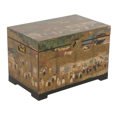 Japanese Wooden Nanban-Decorated Chest with Parcel Gilt Interior