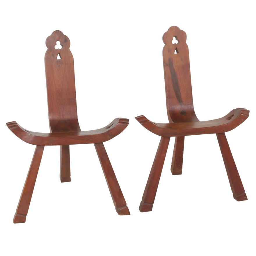 Carved Wood Birthing Chairs, 1970s