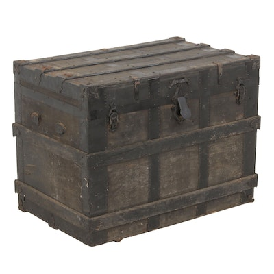 Metal Clad Steamer Trunk, Late 19th to Early 20th Century