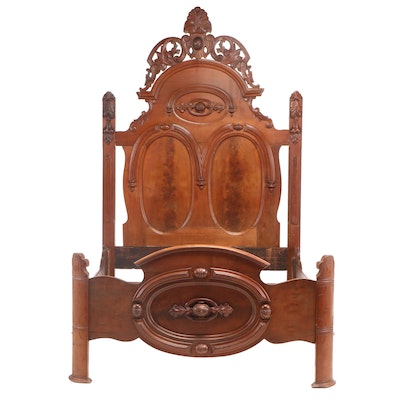 Rococo Revival Carved and Figured Walnut Bedstead, Third Quarter 19th Century