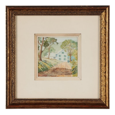 Alice Schille Miniature Watercolor Painting of House on Country Lane