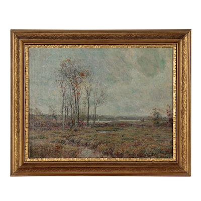 Theodore Clement Steele Oil Painting of Landscape with a Lake