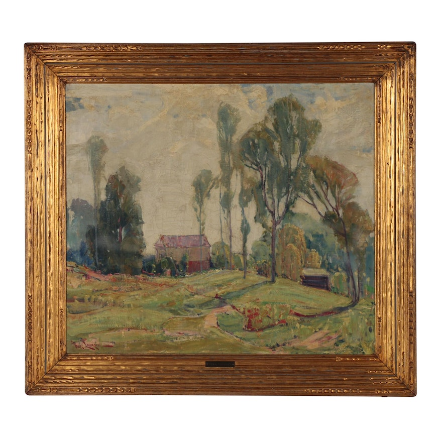 Paul Lauritz Landscape Oil Painting, Early 20th Century