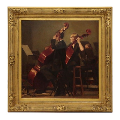 "Michael Malm Oil Painting ""Bass Players"""