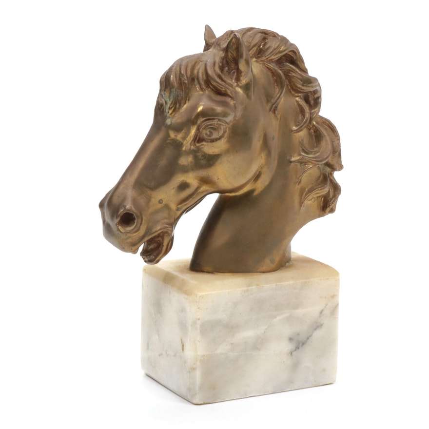 Cast Bronze Horse Head on Marble Base