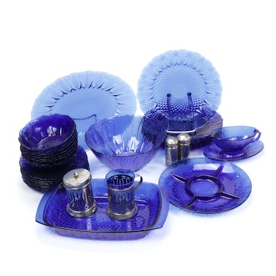 "Avon ""Royal Sapphire"" Cobalt Glass Dinner and Serveware"