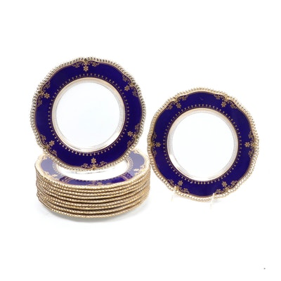 "Spode ""Lancaster"" Gilt and Cobalt Porcelain Dinner Plates, Mid to Late 20th C."