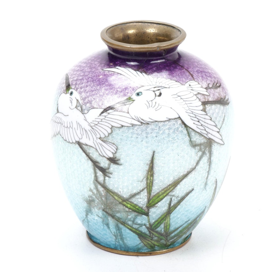 Japanese Ginbari Cloisonné Vase, Mid to Late 20th Century