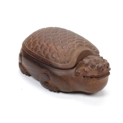 Chinese Dragon Turtle Hand-Carved Wood Trinket Box, Late 20th Century