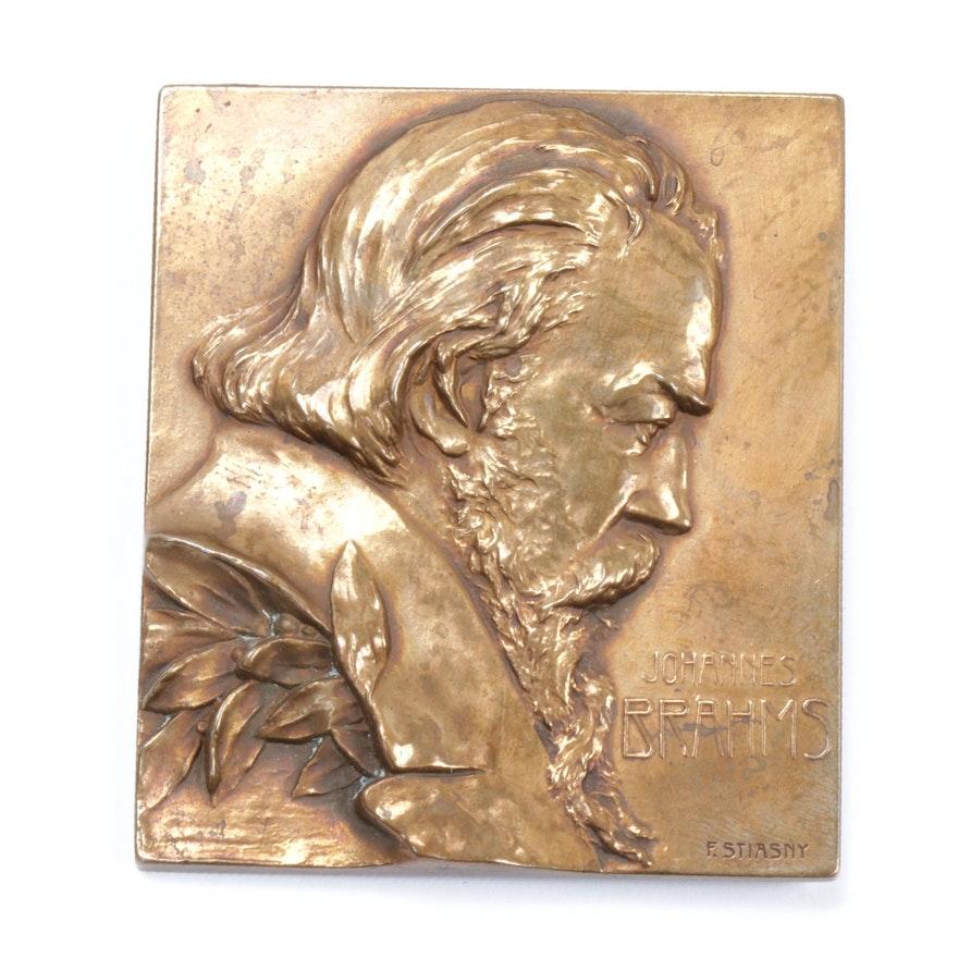 Franz Stiasny Bronze Relief Portrait of Johannes Brahms