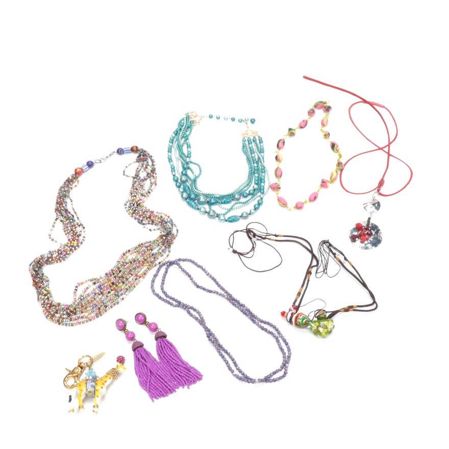 Lenora Dame Purse Charm and Beaded Necklaces and Earrings