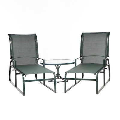 Pair of Pool Lounge Chairs with Table, 21st Century
