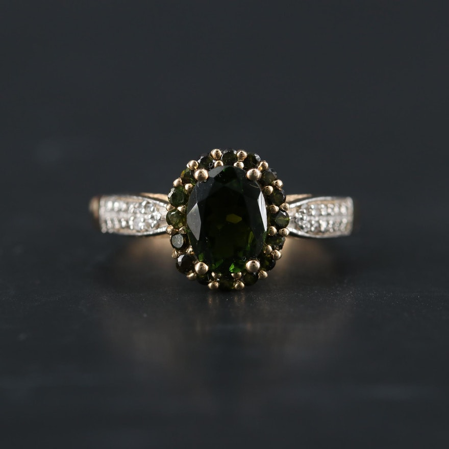9K Yellow Gold Green Tourmaline and White Sapphire Ring