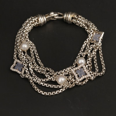 "David Yurman ""Quatrefoil"" Sterling Diamond, Chalcedony and Pearl Bracelet"