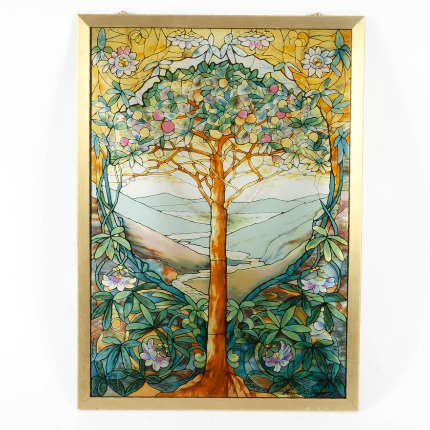 Stained Glass Panel with Tree Motif by Glassmasters after Louis C. Tiffany