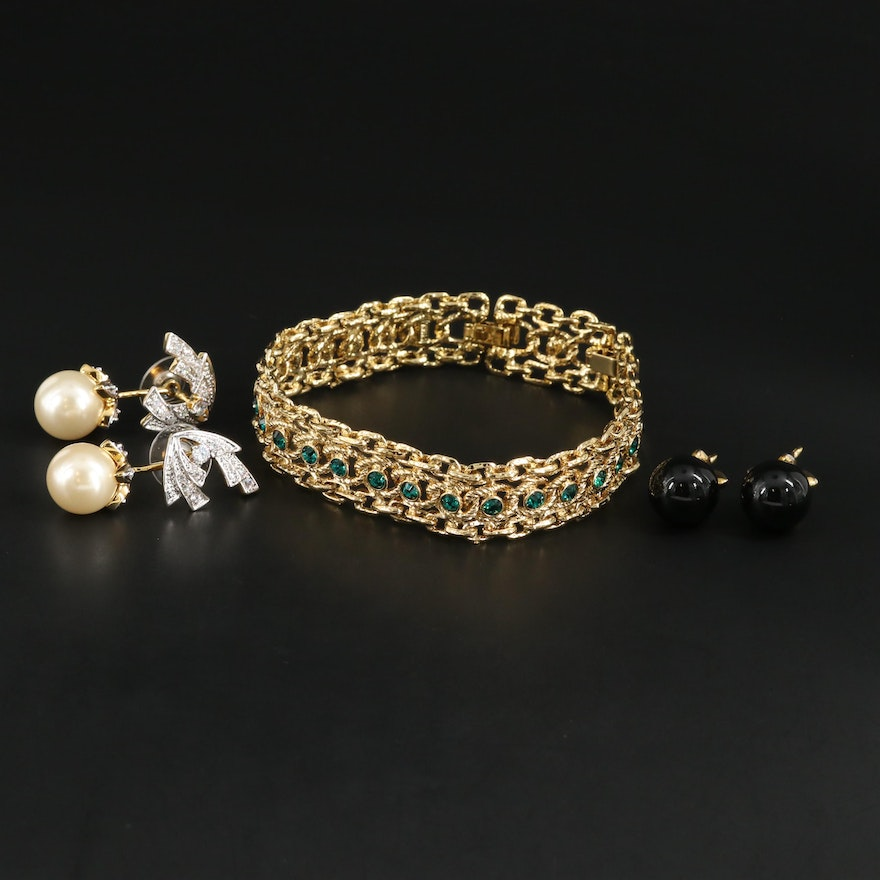 Camros & Kross JBK Pearl, Green and Clear Cubic Zirconia Bracelets and Earrings