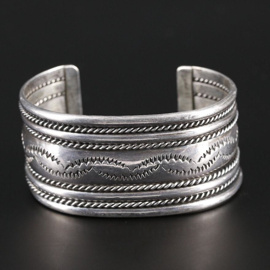 Sterling Silver Cuff Bracelet With Stamp Work and Rope Accents