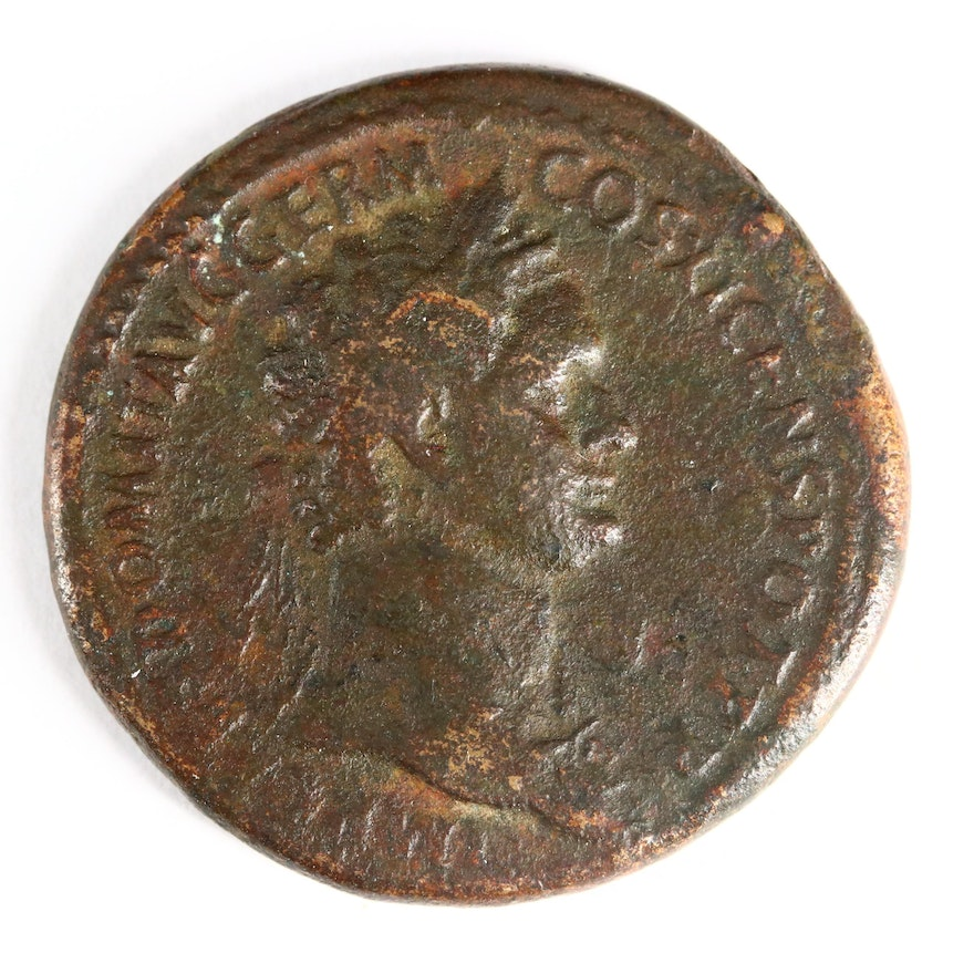 Ancient Roman Imperial AE Sestertius of Domitian, ca. 85 A.D.