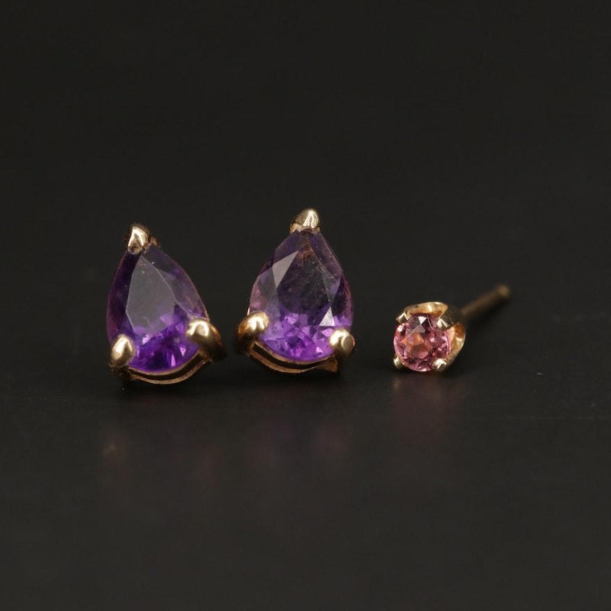 14K Yellow Gold Amethyst and Rhodolite Garnet Stud Earrings
