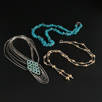 Southwestern Style Sterling Silver, Turquoise and Liquid Silver, Bead Necklaces
