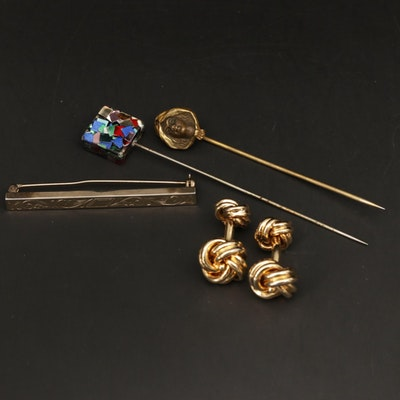 Mosaic and Art Nouvea Pin, Knotted Cufflinks and Scrollwork Brooch