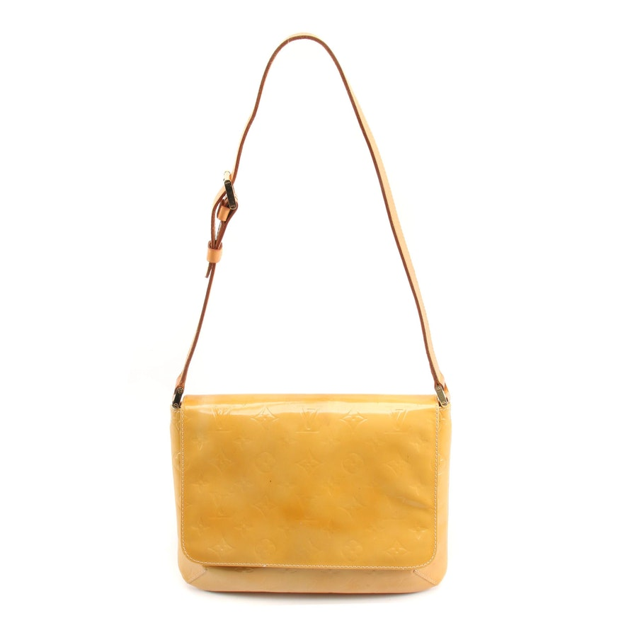 Louis Vuitton Thompson Street Bag in Mango Monogram Vernis and Vachetta Leather
