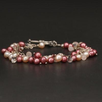 Sterling Silver Rose Quartz, Tourmaline and Pearl Beaded Bracelet