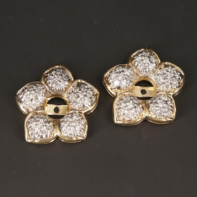14K Yellow Gold Diamond Floral Earring Jackets