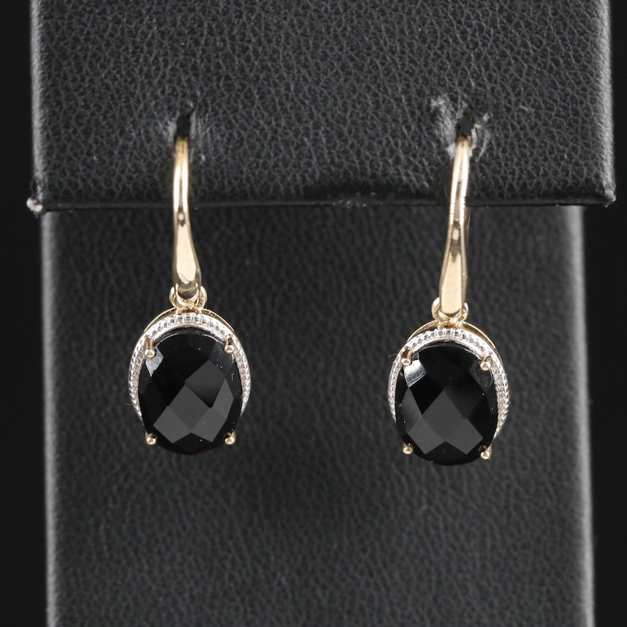 9K Yellow Gold Black Onyx Earrings