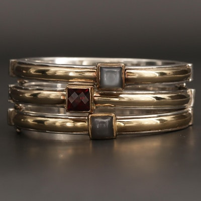 Michael Dawkins Sterling Silver Moonstone and Garnet Hinged Bangle Bracelets