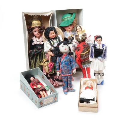 Dolls in Folk Cultural Costumes Including Norway, Italy, Germany, and Others