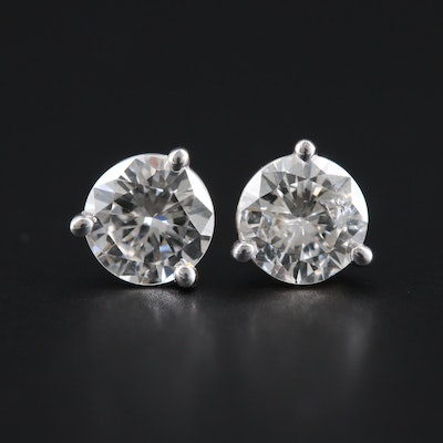 14K White Gold 1.00 CTW Diamond Martini Stud Earrings