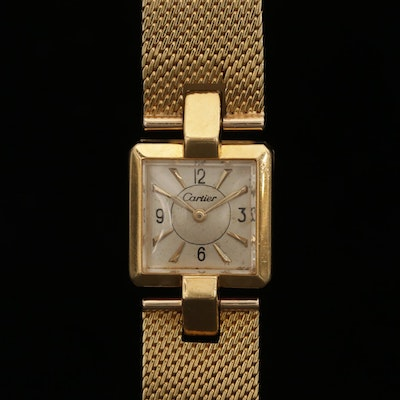 Vintage Cartier 18K Gold Back Wind Wristwatch, Circa 1940