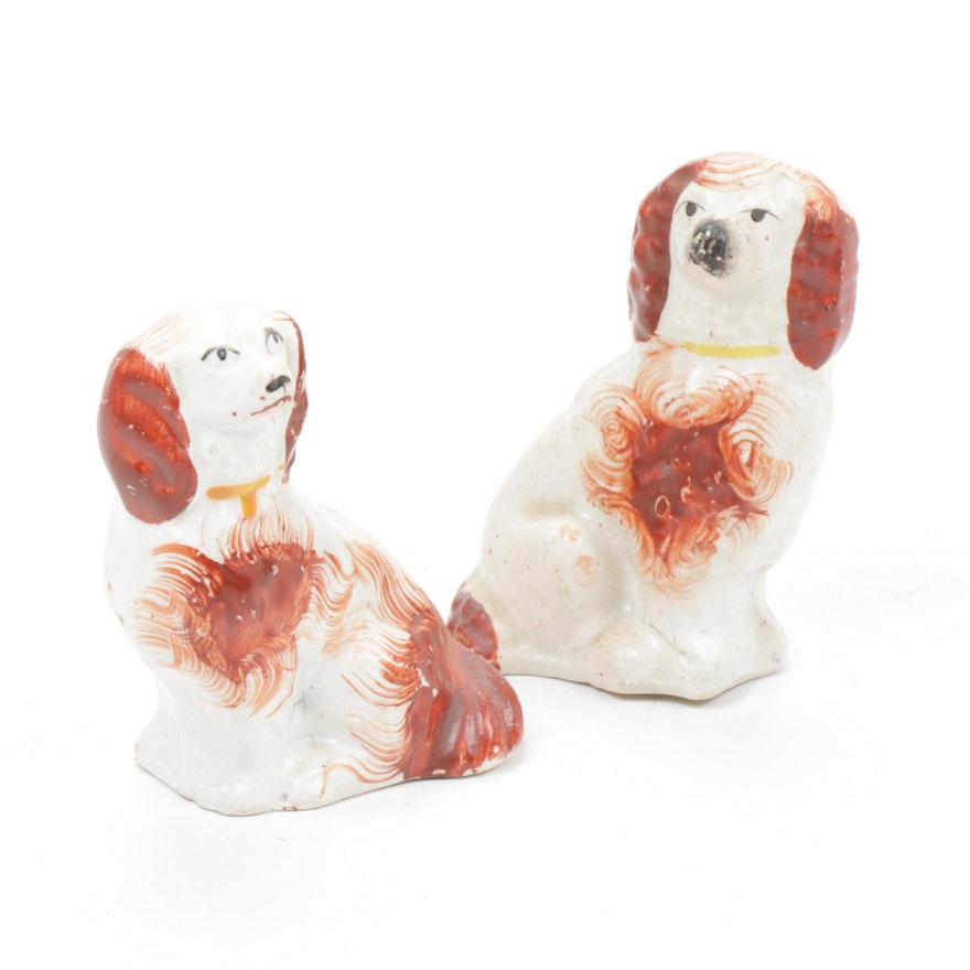 Staffordshire Style Porcelain Dog Figurines, Mid to Late 20th Century