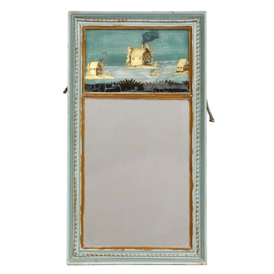 Reverse Painted Glass Mirror, 19th Century